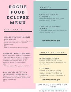 Oregon Eclipse Festival menu